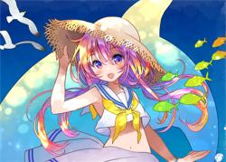 イルカと海亀とセーラーワンピの女の子