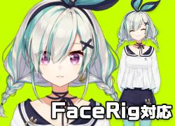 【限定1点】【FaceRig対応】おさげ上半身モデル【差分付き】